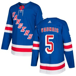 Youth New York Rangers Carol Vadnais Adidas Authentic Home Jersey - Royal Blue