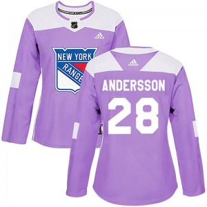 Women's New York Rangers Lias Andersson Adidas Authentic Fights Cancer Practice Jersey - Purple