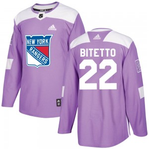 Youth New York Rangers Anthony Bitetto Adidas Authentic Fights Cancer Practice Jersey - Purple