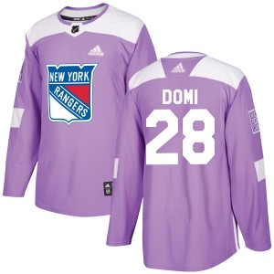 Youth New York Rangers Tie Domi Adidas Authentic Fights Cancer Practice Jersey - Purple